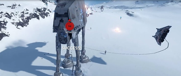 Snowspeeder Attacking AT-AT