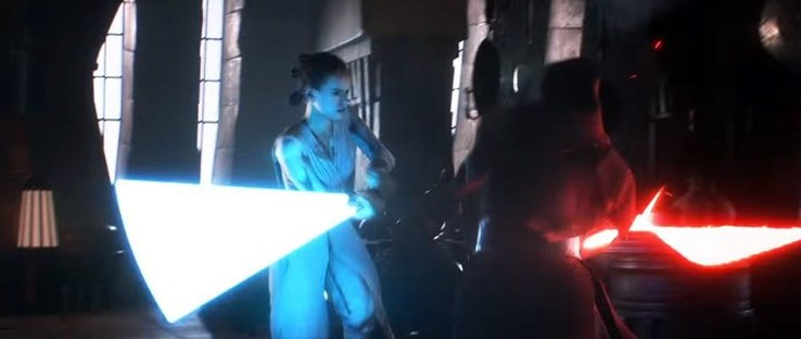 Rey with her blue lightsaber